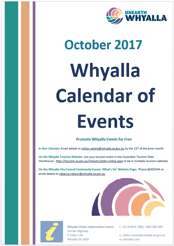Cover Oct 2017 Whyalla Calendar of Events